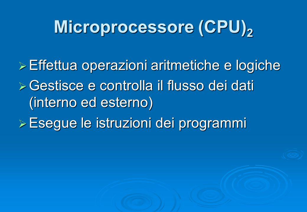 Microprocessore (CPU) 2  Effettua operazioni aritmetiche e logiche  Gestisce e controlla il flusso dei dati (interno ed esterno)  Esegue le istruzi
