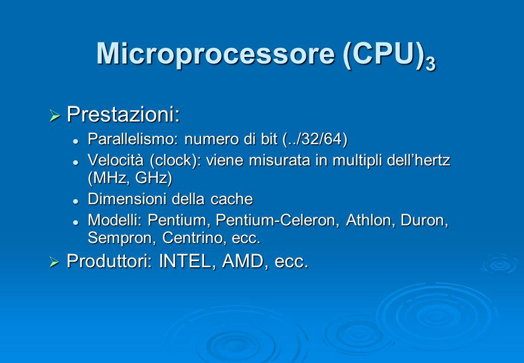 Microprocessore (CPU) 3  Prestazioni: Parallelismo: numero di bit (../32/64) Parallelismo: numero di bit (../32/64) Velocità (clock): viene misurata
