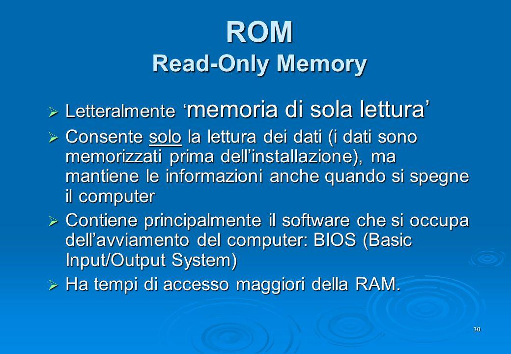 30 ROM Read-Only Memory  Letteralmente ' memoria di sola lettura'  Consente solo la lettura dei dati (i dati sono memorizzati prima dell'installazio