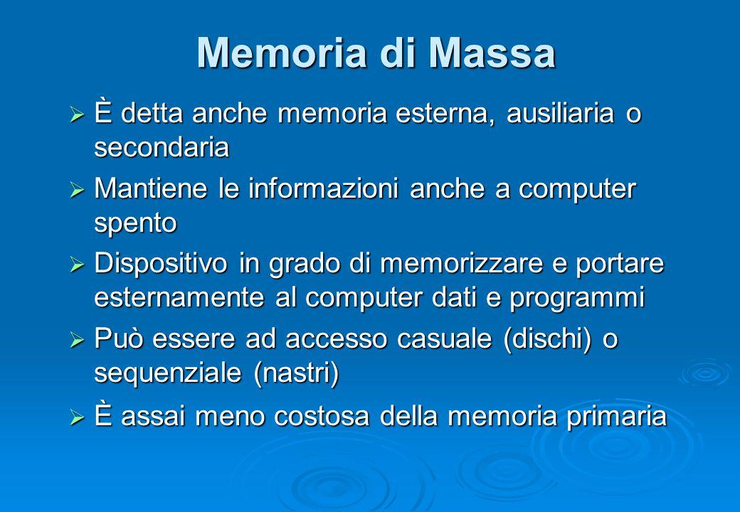 Memoria di Massa  È detta anche memoria esterna, ausiliaria o secondaria  Mantiene le informazioni anche a computer spento  Dispositivo in grado di