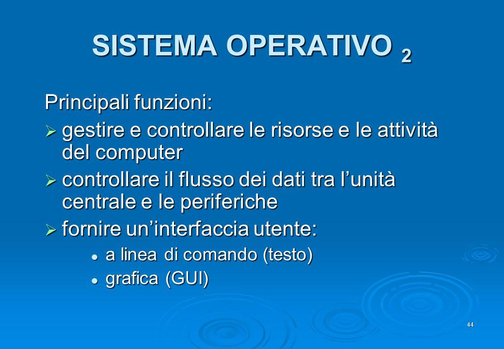 44 SISTEMA OPERATIVO 2 Principali funzioni:  gestire e controllare le risorse e le attività del computer  controllare il flusso dei dati tra l'unità