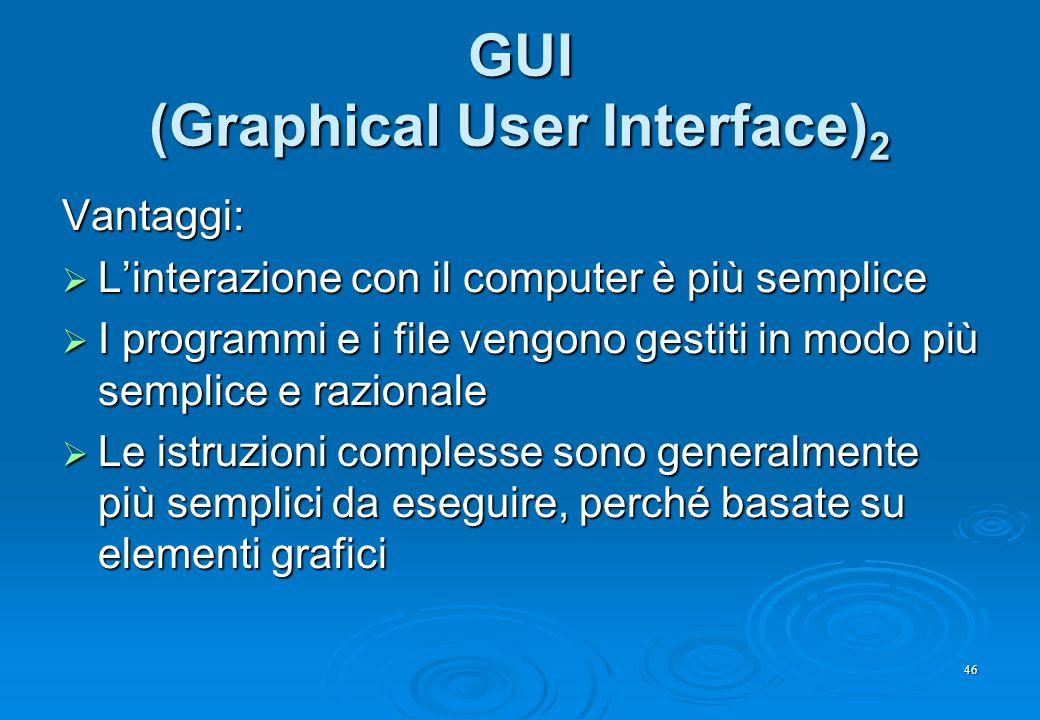 46 GUI (Graphical User Interface) 2 Vantaggi:  L'interazione con il computer è più semplice  I programmi e i file vengono gestiti in modo più sempli