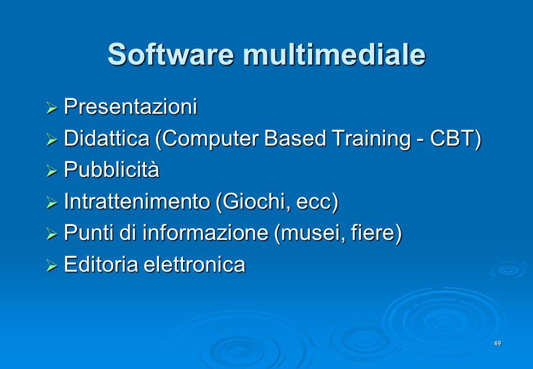 49 Software multimediale  Presentazioni  Didattica (Computer Based Training - CBT)  Pubblicità  Intrattenimento (Giochi, ecc)  Punti di informazi