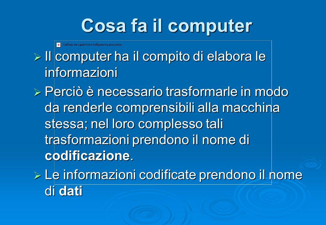 Cosa fa il computer  Il computer ha il compito di elabora le informazioni  Perciò è necessario trasformarle in modo da renderle comprensibili alla m