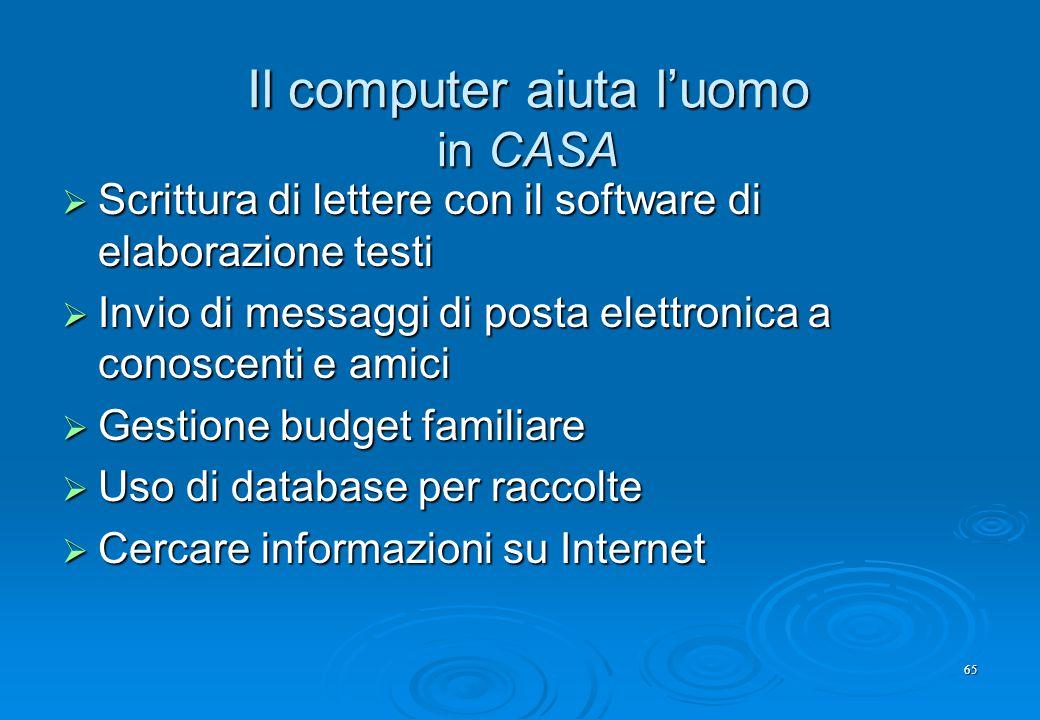 65 Il computer aiuta l'uomo in CASA  Scrittura di lettere con il software di elaborazione testi  Invio di messaggi di posta elettronica a conoscenti