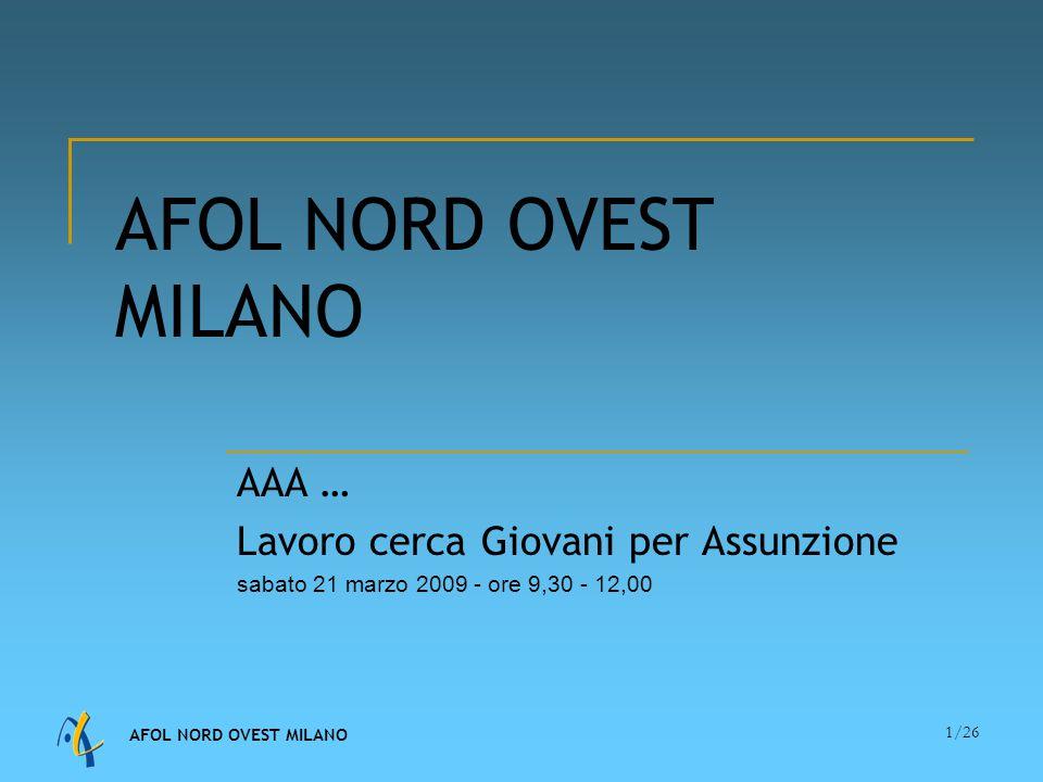 AFOL NORD OVEST MILANO 1/26 AFOL NORD OVEST MILANO AAA … Lavoro cerca Giovani per Assunzione sabato 21 marzo 2009 - ore 9,30 - 12,00