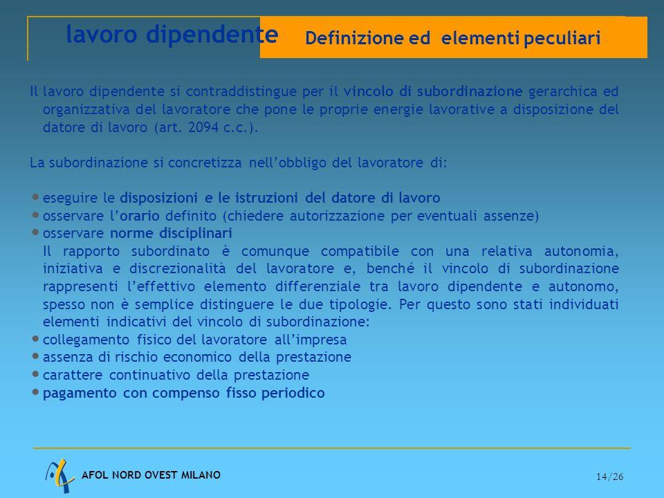 AFOL NORD OVEST MILANO 14/26 Il lavoro dipendente si contraddistingue per il vincolo di subordinazione gerarchica ed organizzativa del lavoratore che pone le proprie energie lavorative a disposizione del datore di lavoro (art.