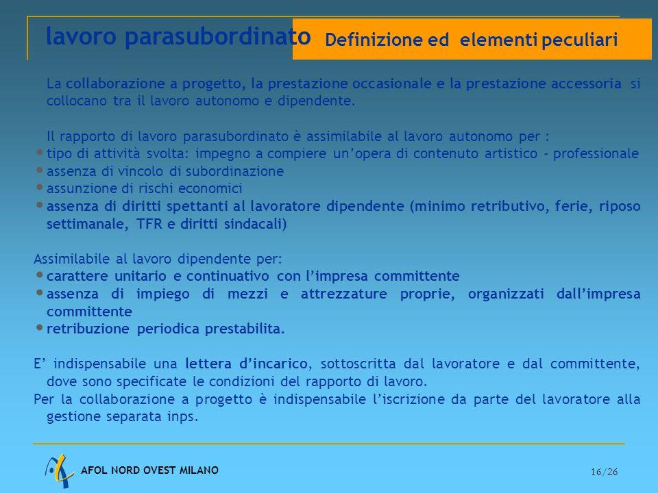AFOL NORD OVEST MILANO 16/26 La collaborazione a progetto, la prestazione occasionale e la prestazione accessoria si collocano tra il lavoro autonomo e dipendente.