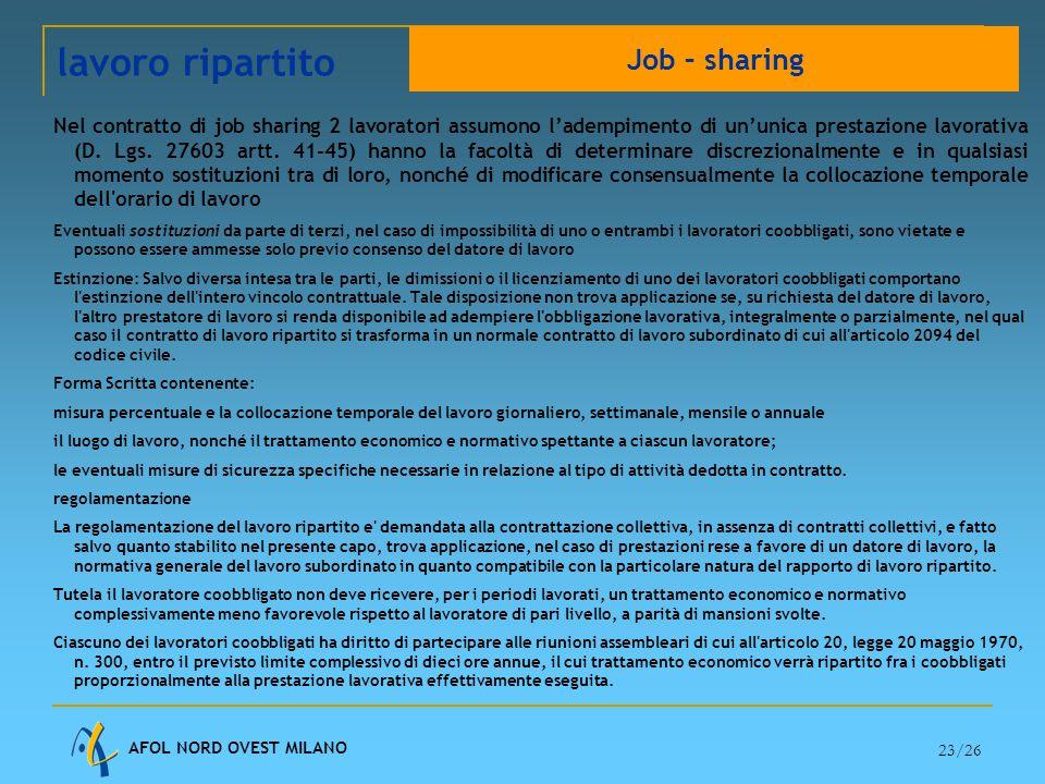 AFOL NORD OVEST MILANO 23/26 Nel contratto di job sharing 2 lavoratori assumono l'adempimento di un'unica prestazione lavorativa (D.