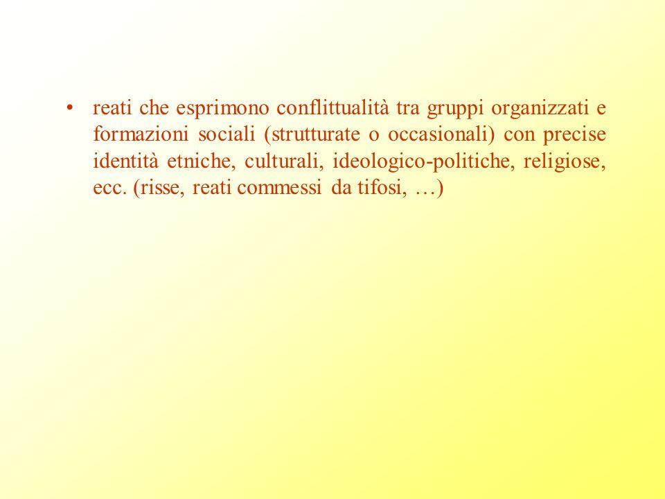 reati che esprimono conflittualità tra gruppi organizzati e formazioni sociali (strutturate o occasionali) con precise identità etniche, culturali, ideologico-politiche, religiose, ecc.