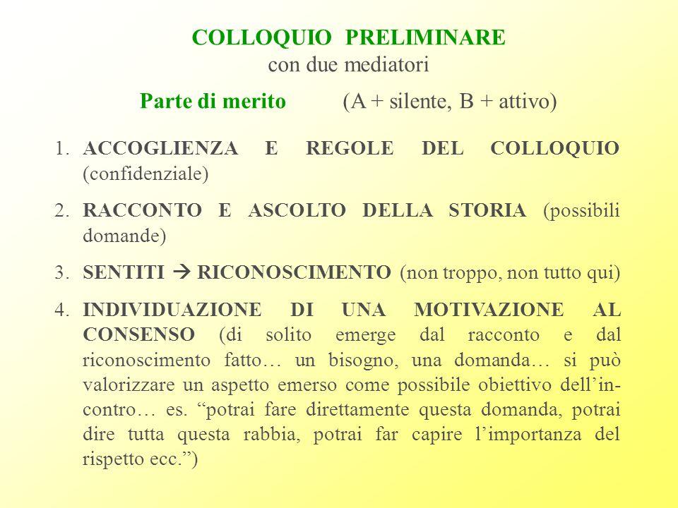 COLLOQUIO PRELIMINARE con due mediatori Parte di merito(A + silente, B + attivo) 1.ACCOGLIENZA E REGOLE DEL COLLOQUIO (confidenziale) 2.RACCONTO E ASCOLTO DELLA STORIA (possibili domande) 3.SENTITI  RICONOSCIMENTO (non troppo, non tutto qui) 4.INDIVIDUAZIONE DI UNA MOTIVAZIONE AL CONSENSO (di solito emerge dal racconto e dal riconoscimento fatto… un bisogno, una domanda… si può valorizzare un aspetto emerso come possibile obiettivo dell'in- contro… es.