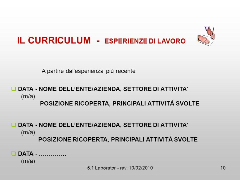 5.1 Laboratori - rev. 10/02/2010  DATA - NOME DELL'ENTE/AZIENDA, SETTORE DI ATTIVITA' (m/a) POSIZIONE RICOPERTA, PRINCIPALI ATTIVITÀ SVOLTE  DATA -