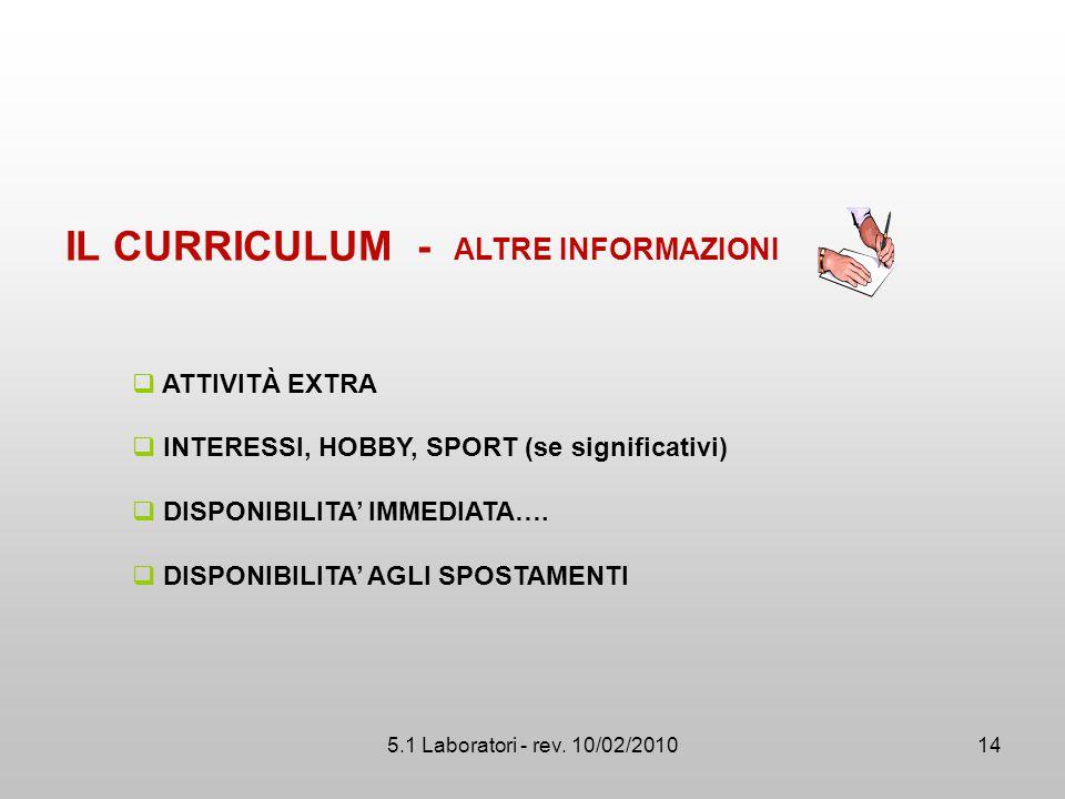5.1 Laboratori - rev. 10/02/2010  ATTIVITÀ EXTRA  INTERESSI, HOBBY, SPORT (se significativi)  DISPONIBILITA' IMMEDIATA….  DISPONIBILITA' AGLI SPOS