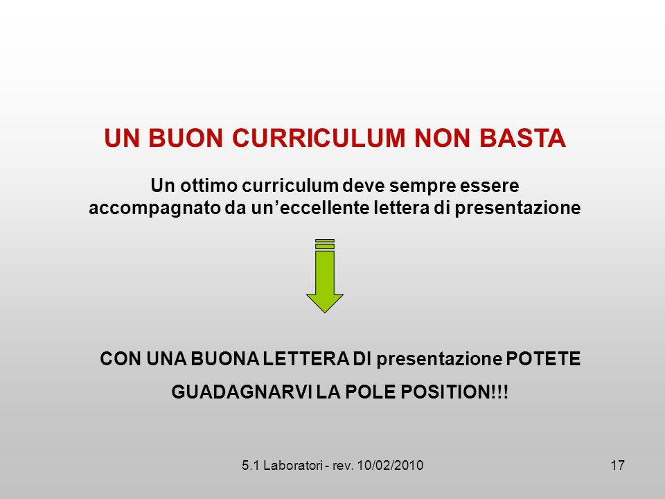 5.1 Laboratori - rev. 10/02/2010 Un ottimo curriculum deve sempre essere accompagnato da un'eccellente lettera di presentazione CON UNA BUONA LETTERA