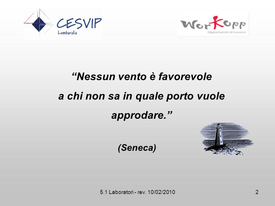 """5.1 Laboratori - rev. 10/02/2010 """"Nessun vento è favorevole a chi non sa in quale porto vuole approdare."""" (Seneca) 2"""