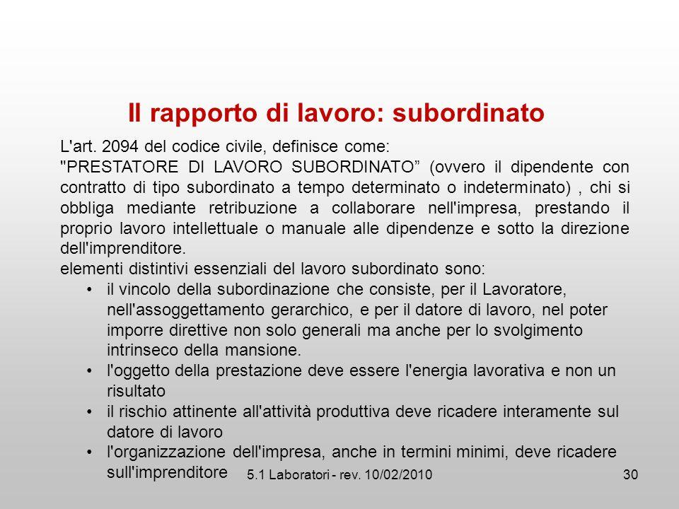 5.1 Laboratori - rev. 10/02/2010 Il rapporto di lavoro: subordinato L'art. 2094 del codice civile, definisce come: