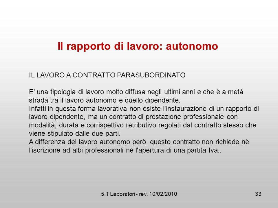 5.1 Laboratori - rev. 10/02/2010 Il rapporto di lavoro: autonomo IL LAVORO A CONTRATTO PARASUBORDINATO E' una tipologia di lavoro molto diffusa negli