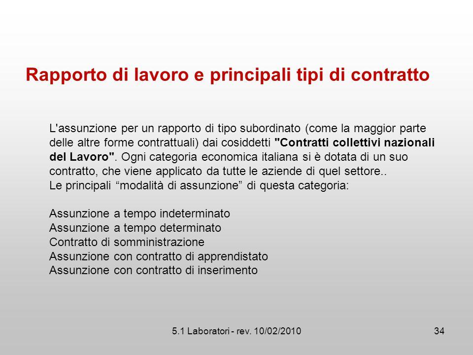 5.1 Laboratori - rev. 10/02/2010 Rapporto di lavoro e principali tipi di contratto L'assunzione per un rapporto di tipo subordinato (come la maggior p