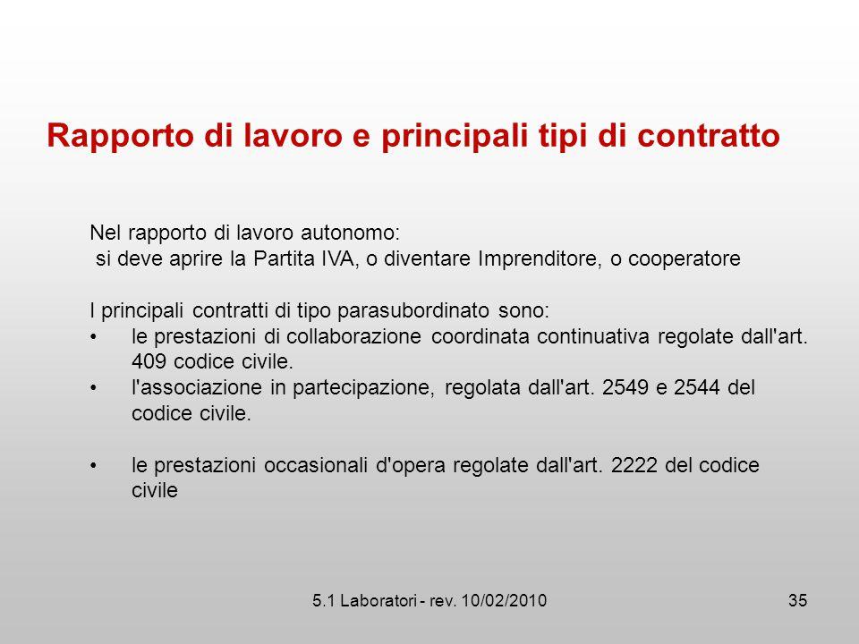 5.1 Laboratori - rev. 10/02/2010 Rapporto di lavoro e principali tipi di contratto Nel rapporto di lavoro autonomo: si deve aprire la Partita IVA, o d