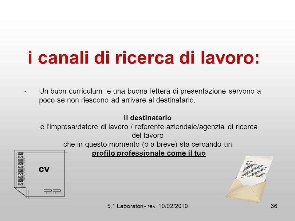 5.1 Laboratori - rev. 10/02/2010 i canali di ricerca di lavoro: -Un buon curriculum e una buona lettera di presentazione servono a poco se non riescon