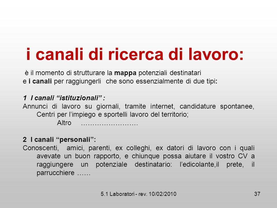 5.1 Laboratori - rev. 10/02/2010 i canali di ricerca di lavoro: è il momento di strutturare la mappa potenziali destinatari e i canali per raggiungerl