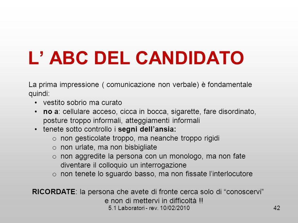 5.1 Laboratori - rev. 10/02/2010 L' ABC DEL CANDIDATO La prima impressione ( comunicazione non verbale) è fondamentale quindi: vestito sobrio ma curat