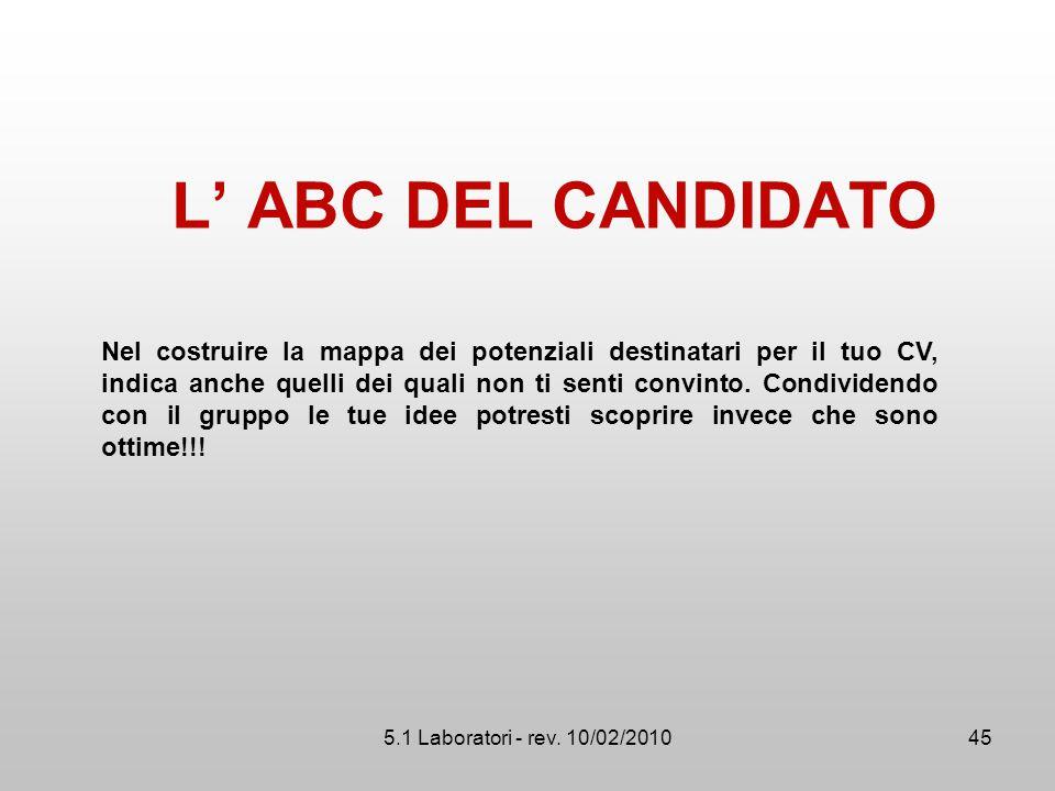 5.1 Laboratori - rev. 10/02/2010 L' ABC DEL CANDIDATO 45 Nel costruire la mappa dei potenziali destinatari per il tuo CV, indica anche quelli dei qual