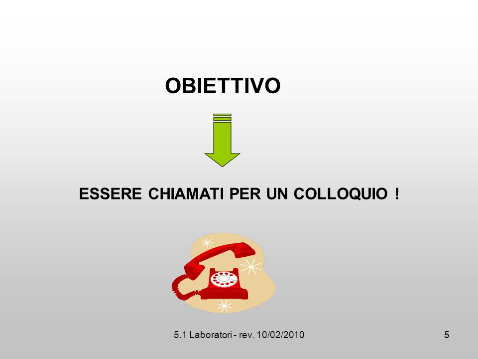 5.1 Laboratori - rev. 10/02/2010 OBIETTIVO ESSERE CHIAMATI PER UN COLLOQUIO ! 5