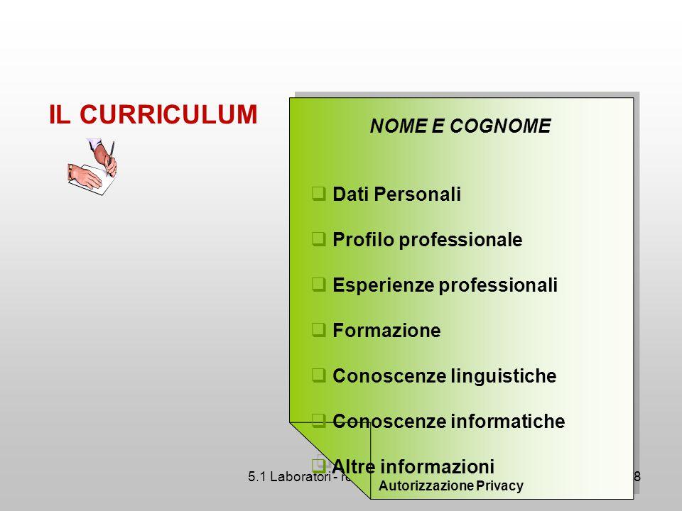 5.1 Laboratori - rev. 10/02/2010 IL CURRICULUM NOME E COGNOME  Dati Personali  Profilo professionale  Esperienze professionali  Formazione  Conos
