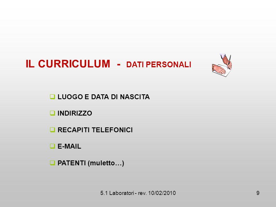 5.1 Laboratori - rev. 10/02/2010  LUOGO E DATA DI NASCITA  INDIRIZZO  RECAPITI TELEFONICI  E-MAIL  PATENTI (muletto…) IL CURRICULUM - DATI PERSON