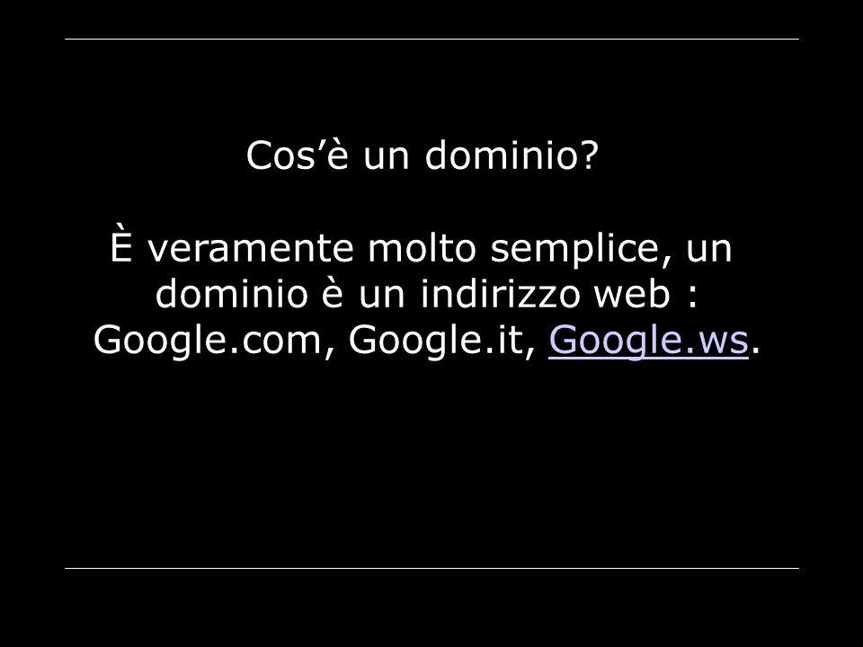 Cos'è un dominio? È veramente molto semplice, un dominio è un indirizzo web : Google.com, Google.it, Google.ws.Google.ws