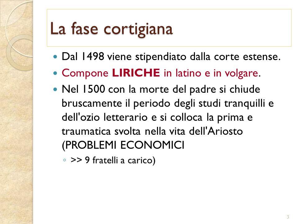 La fase cortigiana Dal 1498 viene stipendiato dalla corte estense. Compone LIRICHE in latino e in volgare. Nel 1500 con la morte del padre si chiude b