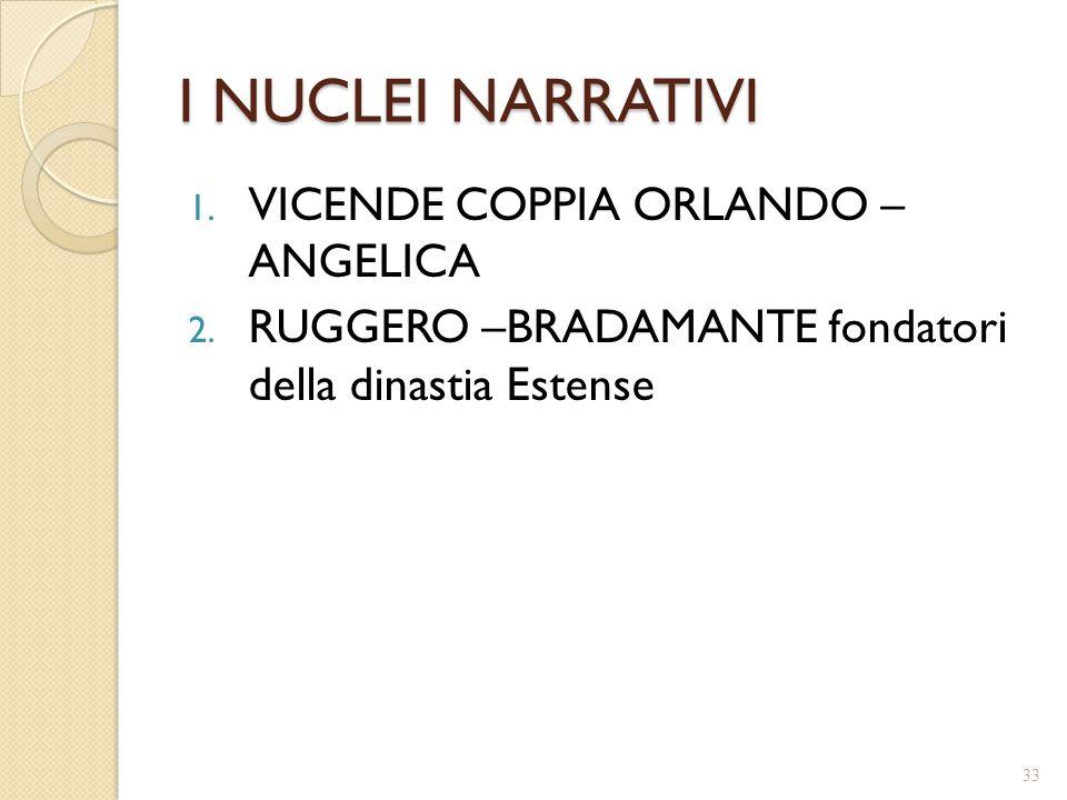 I NUCLEI NARRATIVI 1. VICENDE COPPIA ORLANDO – ANGELICA 2. RUGGERO –BRADAMANTE fondatori della dinastia Estense 33