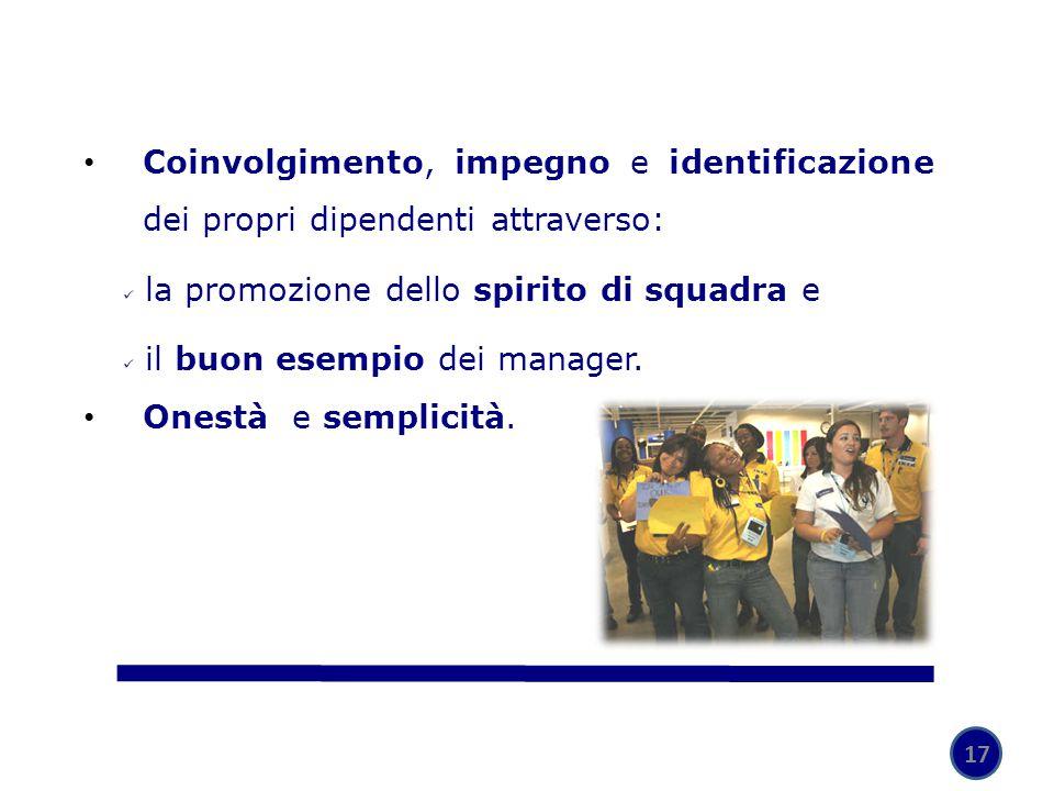 17 Coinvolgimento, impegno e identificazione dei propri dipendenti attraverso: la promozione dello spirito di squadra e il buon esempio dei manager. O