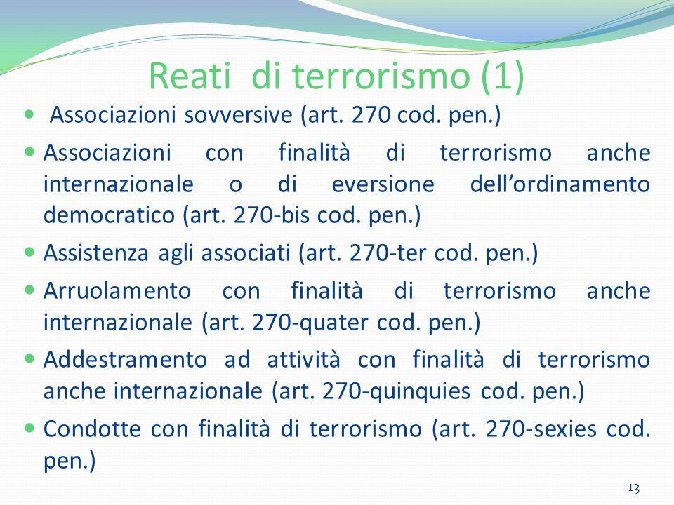 Reati di terrorismo (1) Associazioni sovversive (art. 270 cod. pen.) Associazioni con finalità di terrorismo anche internazionale o di eversione dell'