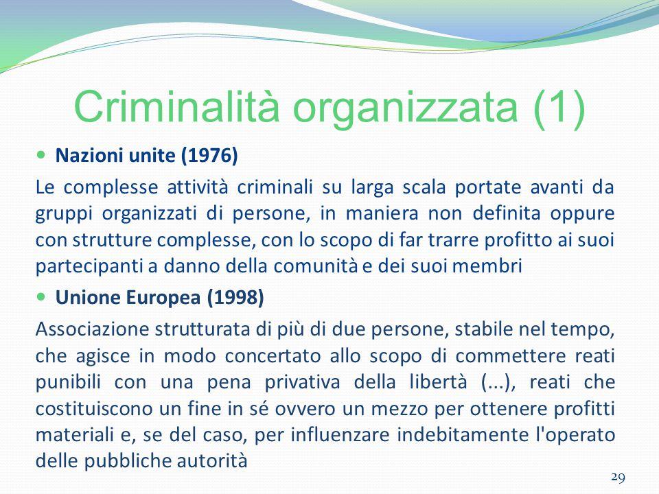 Criminalità organizzata (1) Nazioni unite (1976) Le complesse attività criminali su larga scala portate avanti da gruppi organizzati di persone, in ma