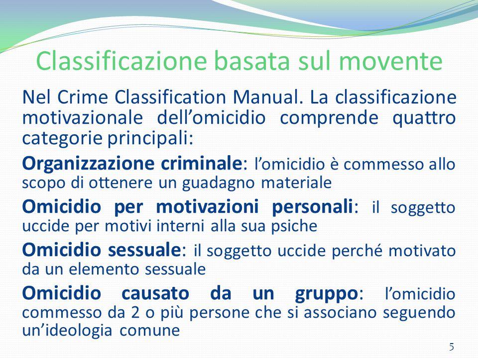 Classificazione basata sul movente Nel Crime Classification Manual. La classificazione motivazionale dell'omicidio comprende quattro categorie princip