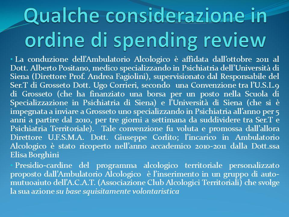 La conduzione dell'Ambulatorio Alcologico è affidata dall'ottobre 2011 al Dott. Alberto Positano, medico specializzando in Psichiatria dell'Università
