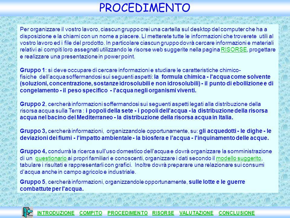 INTRODUZIONE COMPITO PROCEDIMENTO RISORSE VALUTAZIONE CONCLUSIONE INTRODUZIONECOMPITOPROCEDIMENTORISORSEVALUTAZIONECONCLUSIONE PROCEDIMENTO Per organi