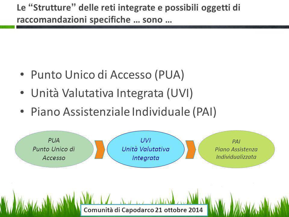 """Le """"Strutture"""" delle reti integrate e possibili oggetti di raccomandazioni specifiche … sono … Punto Unico di Accesso (PUA) Unità Valutativa Integrata"""