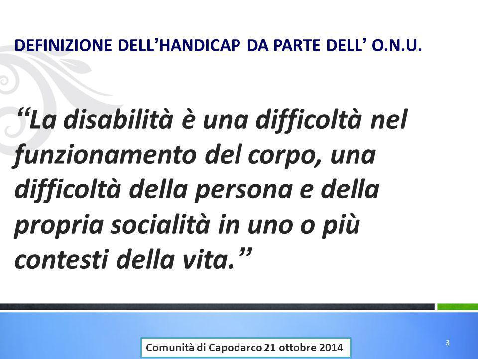 """DEFINIZIONE DELL ' HANDICAP DA PARTE DELL ' O.N.U. """" La disabilità è una difficoltà nel funzionamento del corpo, una difficoltà della persona e della"""