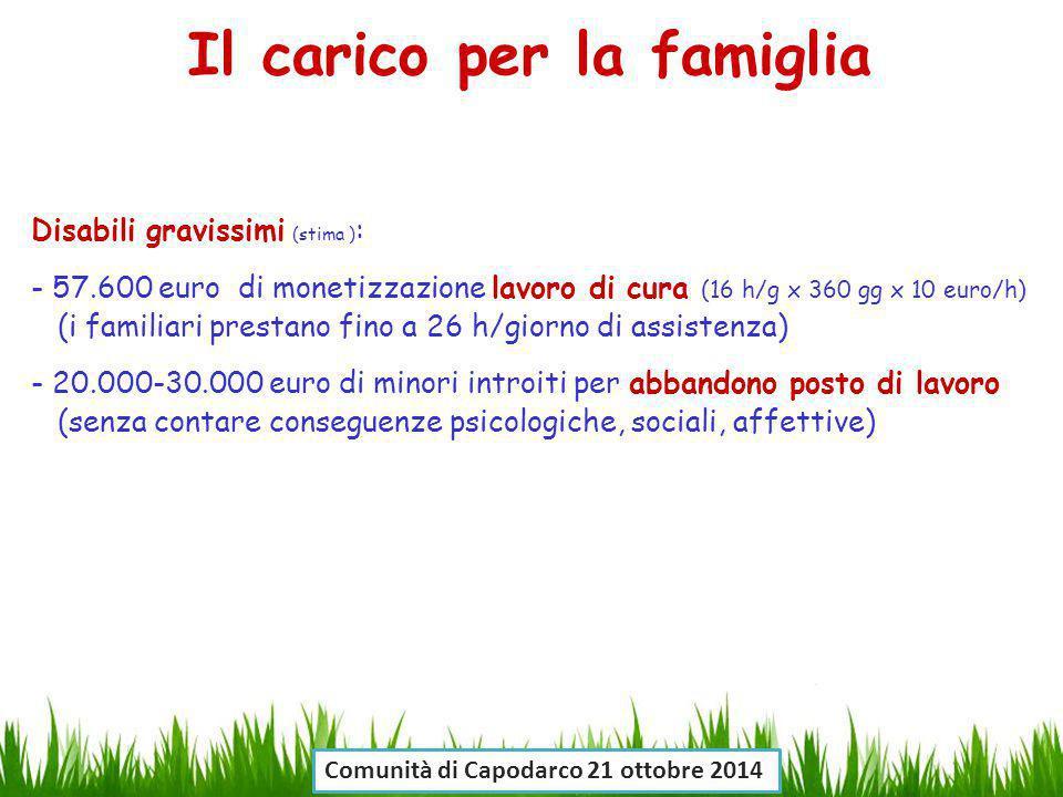 Disabili gravissimi (stima ) : - 57.600 euro di monetizzazione lavoro di cura (16 h/g x 360 gg x 10 euro/h) (i familiari prestano fino a 26 h/giorno d