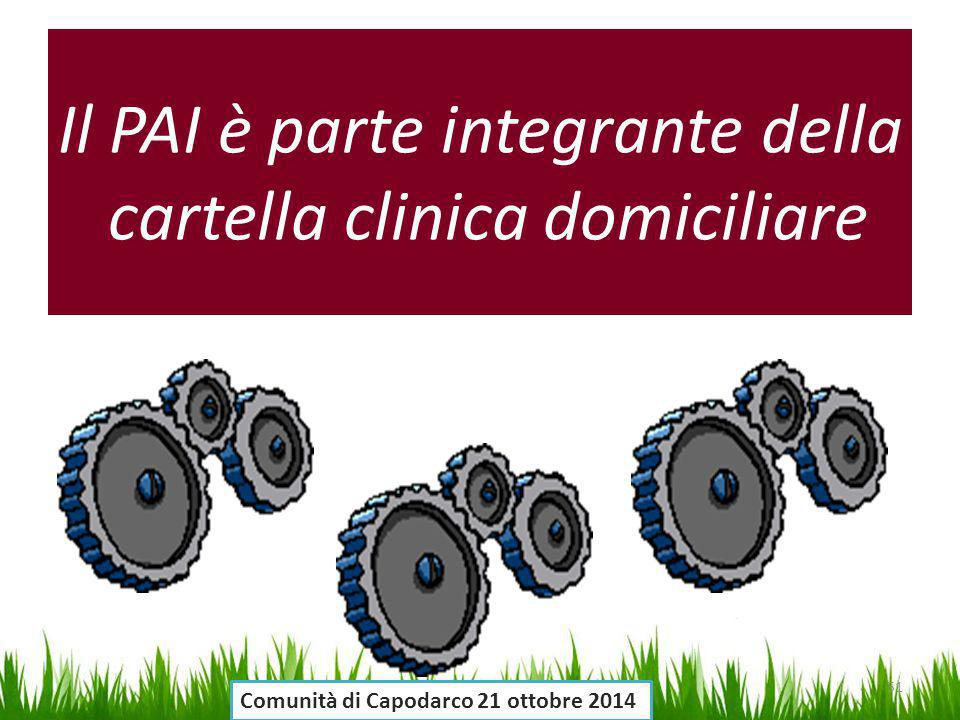 Il PAI è parte integrante della cartella clinica domiciliare 51 Comunità di Capodarco 21 ottobre 2014