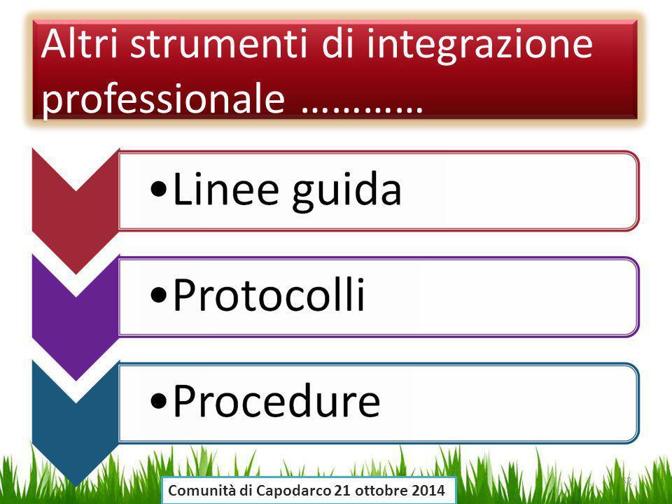 Altri strumenti di integrazione professionale ………… 52 Comunità di Capodarco 21 ottobre 2014