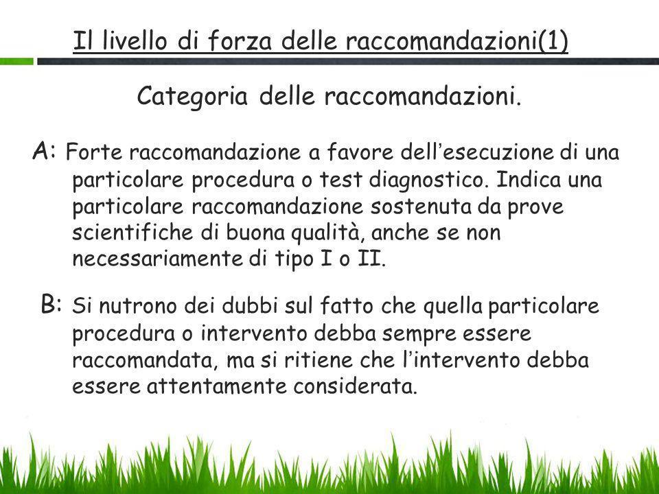 Il livello di forza delle raccomandazioni(1) Categoria delle raccomandazioni. A: Forte raccomandazione a favore dell ' esecuzione di una particolare p