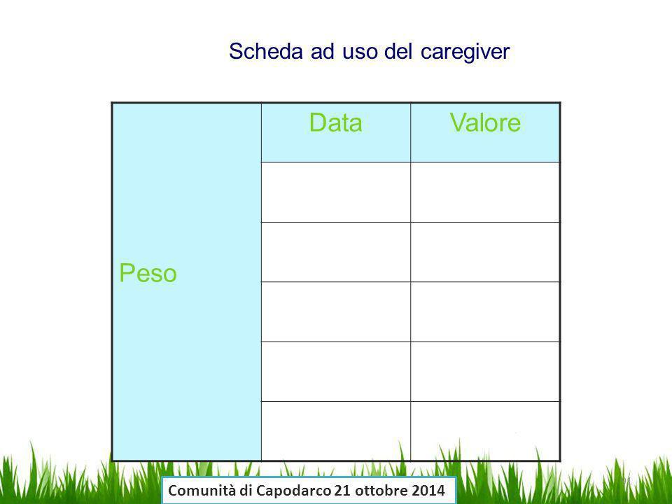 Peso DataValore Scheda ad uso del caregiver 91 Comunità di Capodarco 21 ottobre 2014