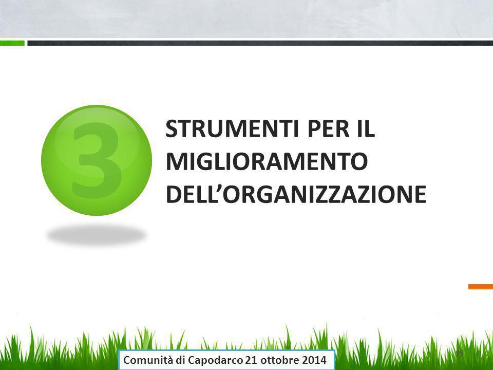 3 STRUMENTI PER IL MIGLIORAMENTO DELL'ORGANIZZAZIONE 99 Comunità di Capodarco 21 ottobre 2014