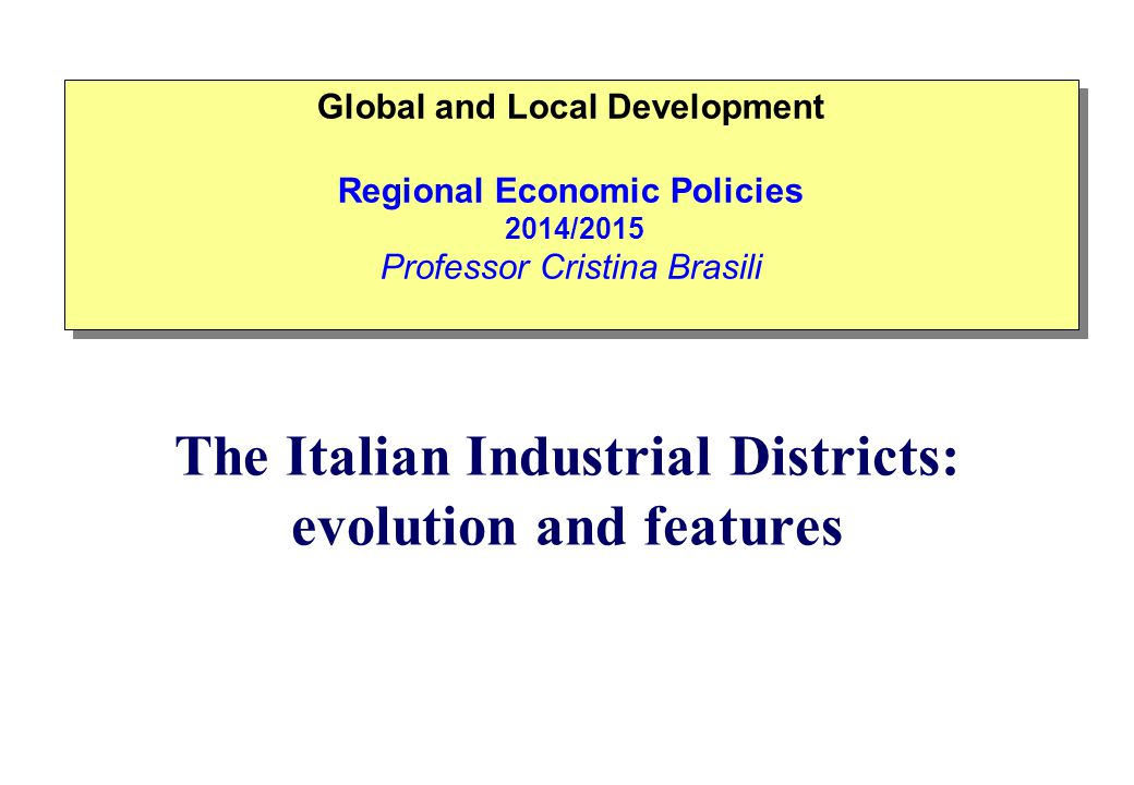 In Italy endogenous growth theorists focus on the role played by the Small and Medium Enterprises (SME) and especially, the local economic systems they engender - i.e.