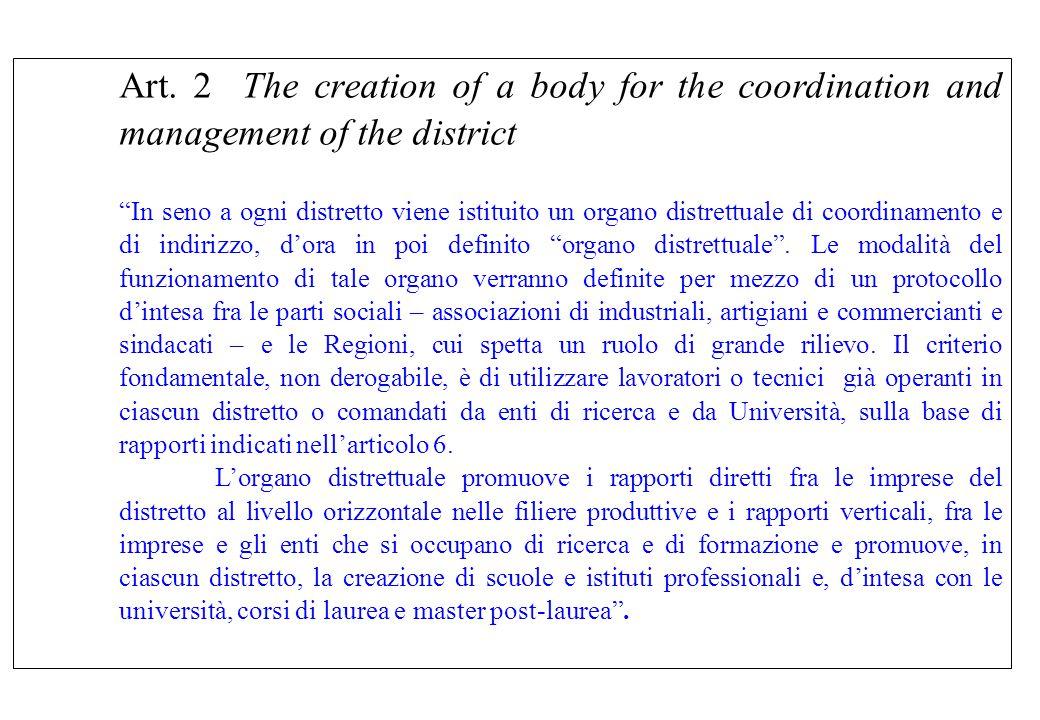 """Art. 2 The creation of a body for the coordination and management of the district """"In seno a ogni distretto viene istituito un organo distrettuale di"""