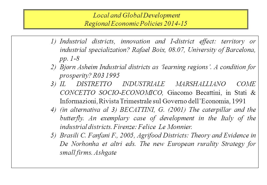1)Industrial districts, innovation and I-district effect: territory or industrial specialization.